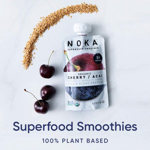 NOKA Superfood Smoothie Organic Cherry Acai Berry Banana Apple Lemon Flax Plant Protein Smoothies