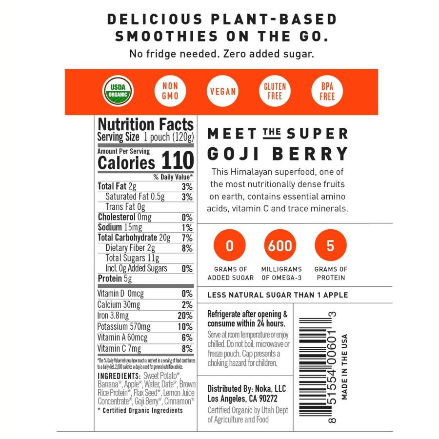 Sweet Potato Goji Berry NOKA Smoothie Pouch Non-GMO Plant Based Ingredients And Nutrition Facts With Zero Added Sugar