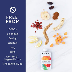 Organic Noka Sweet Potato Goji Smoothies Are Free From GMOs Lactose Dairy Gluten Soy BPA Artificial Ingredients Preservatives