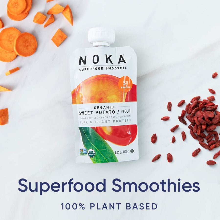 NOKA Superfood Smoothie Organic Sweet Potato Goji Banana Apple Lemon Date Cinnamon Flax Plant Protein Smoothies