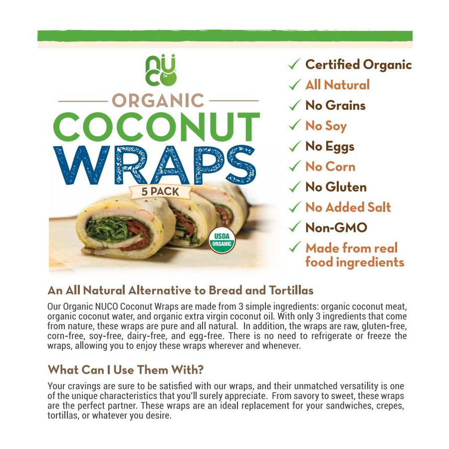 NUCO Organic Coconut Wraps Information Sheet All Natural Alternative To Bread And Tortillas Raw Gluten Free Corn Free Soy Free Dairy Free Egg Free