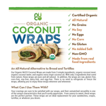 Load image into Gallery viewer, NUCO Organic Coconut Wraps Information Sheet All Natural Alternative To Bread And Tortillas Raw Gluten Free Corn Free Soy Free Dairy Free Egg Free