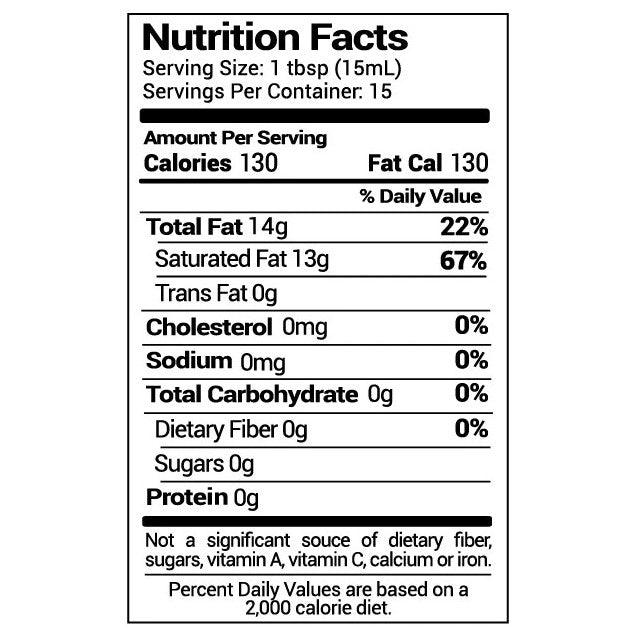 8 Ounce NUCO Liquid Premium Coconut Oil Nutrition Facts