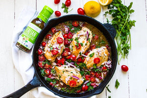 One Skillet Italian Chicken With Tomatoes And Fresh Herbs Primal Kitchen Italian Marinade Recipe