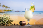 Load image into Gallery viewer, Coconut Water Tropical Pineapple Pina Colada Coconut Drink With Bar Tools And Beach Background