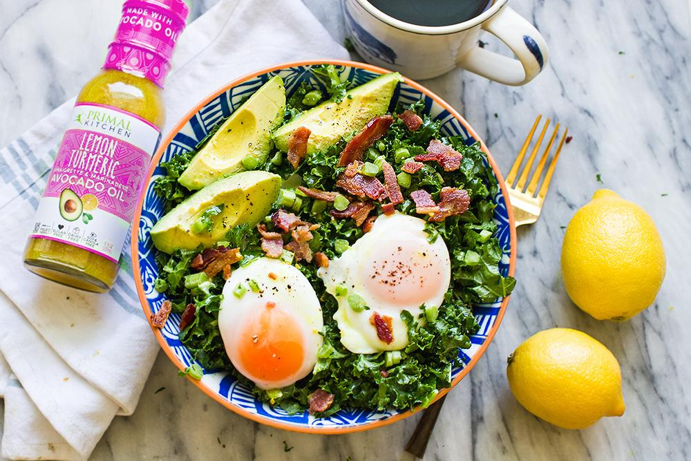 Primal Kitchen Recipe Poached Egg And Avocado Breakfast Salad With Fresh Avocado Lemons And Turmeric Lemon Primal Kitchen Dressing