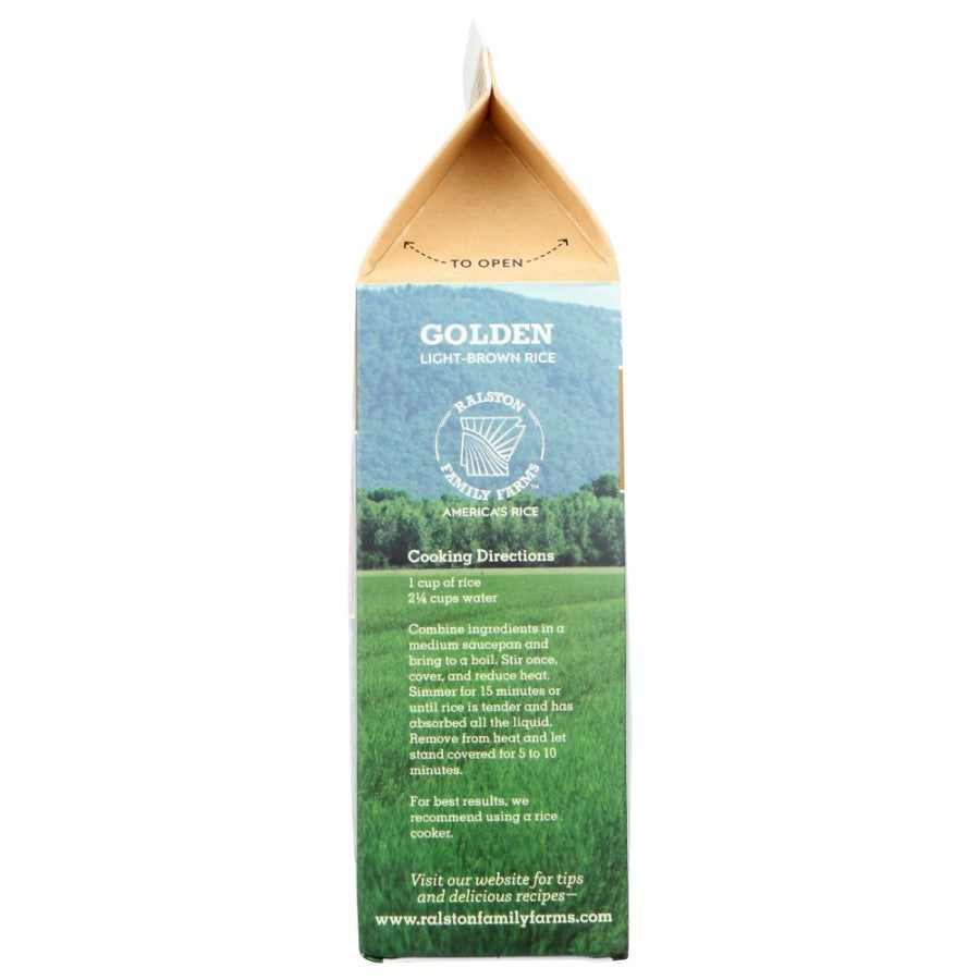 Ralston Family Farms Golden Rice Recipe On Recyclable Box Carton Of Light Brown Rice