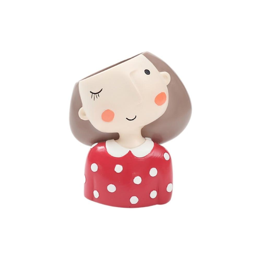 Terra Powders Plant Lady Mini Planter Pot Woman In Red And White Polka Dot Shirt