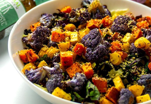 Roasted Veggie Bowl With Kale And Cabbage Slaw Greek Dressing Vinaigrette Recipe From Primal Kitchen
