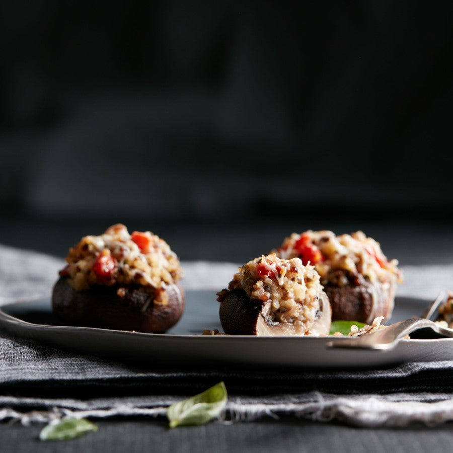 Savory Quinoa Stuffed Mushrooms Made Using Organic TruRoots Sprouted Quinoa Blend