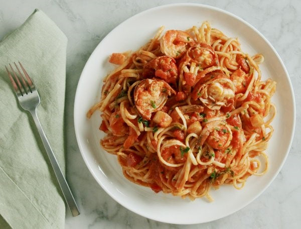 Seafood Fra Diavolo Meal Made With Shrimp And Organic Linguine Noodles From Alessi
