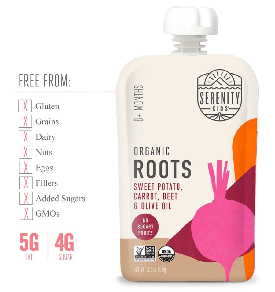 Serenity Kids Organic Roots Baby Food Is Free From Gluten Dairy Fillers Added Sugars GMOs