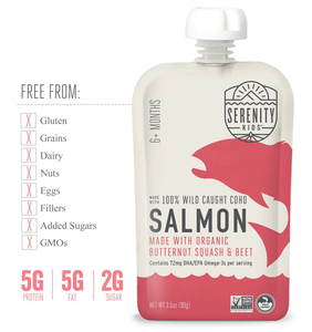 Serenity Kids Wild Caught Coho Salmon Baby Food Is Free From Gluten Dairy Fillers Added Sugars GMOs