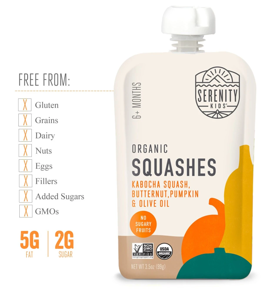 Serenity Kids Organic Squashes Baby Food Is Free From Gluten Dairy Fillers Added Sugars GMOs