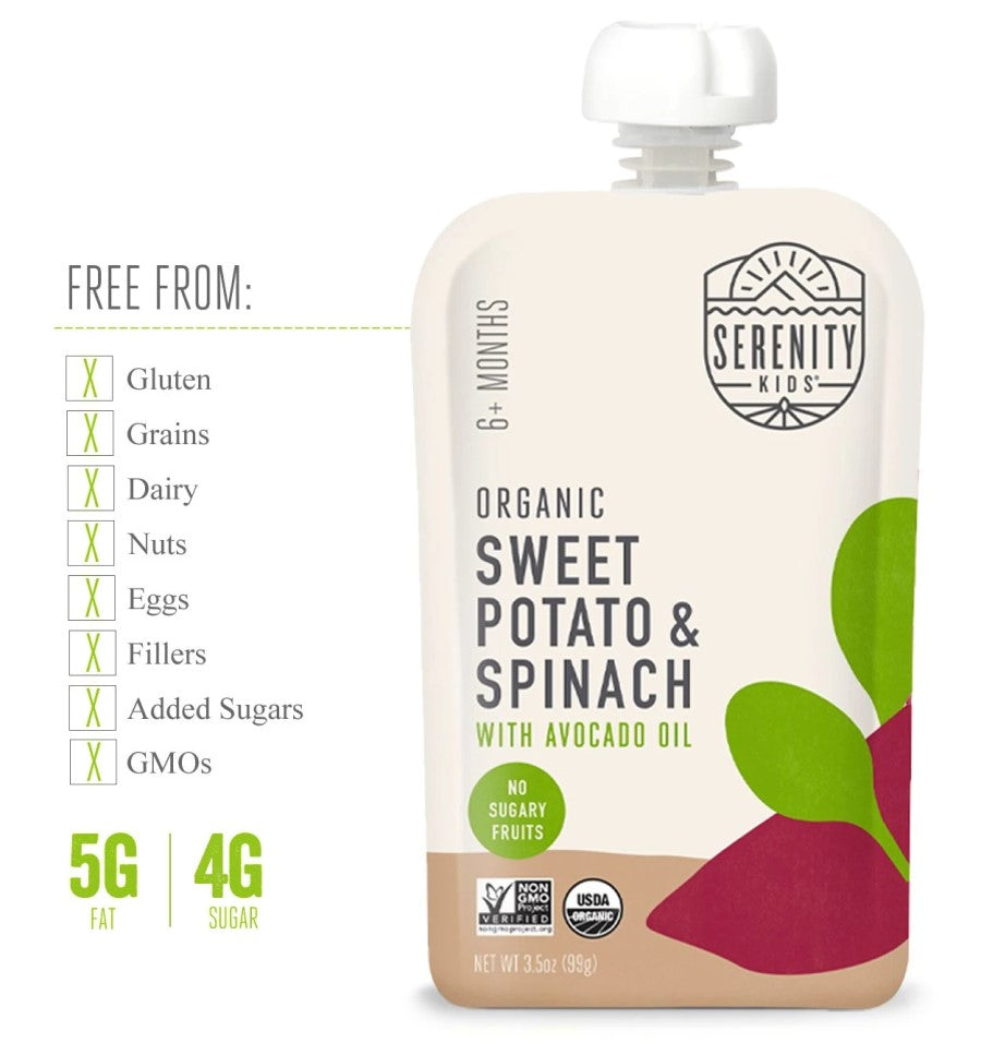 Serenity Kids Organic Sweet Potato And Spinach Baby Food Is Free From Gluten Dairy Fillers Added Sugars GMOs