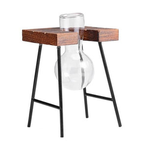 Glass & Wood Hanging Rack Tabletop Vases From Terra Powders