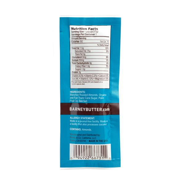 Snack Packet Smooth Almond Butter Nutrition Facts And Ingredients From Peanut Free Barney Butter