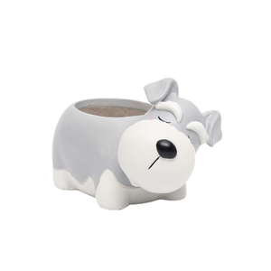 Terra Powders Adorable Animals Mini Planter Pot Snoozing Schnauzer