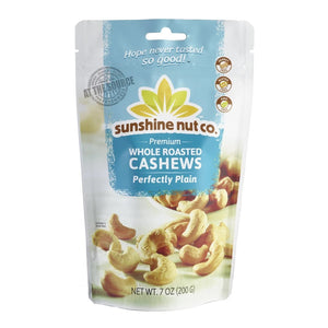 Sunshine Nut Co Whole Roasted Cashews Perfectly Plain 7oz