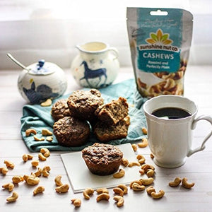 Roasted And Perfectly Plain Cashews With Coffee And Muffins Sunshine Nut Co. Bag Of Cashew Nuts