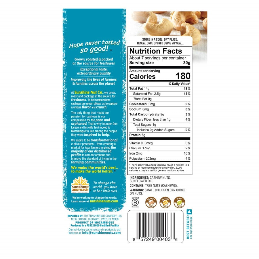 7 Ounce Sunshine Nut Company Perfectly Plain Whole Roasted Cashews Nutrition Facts And Ingredients