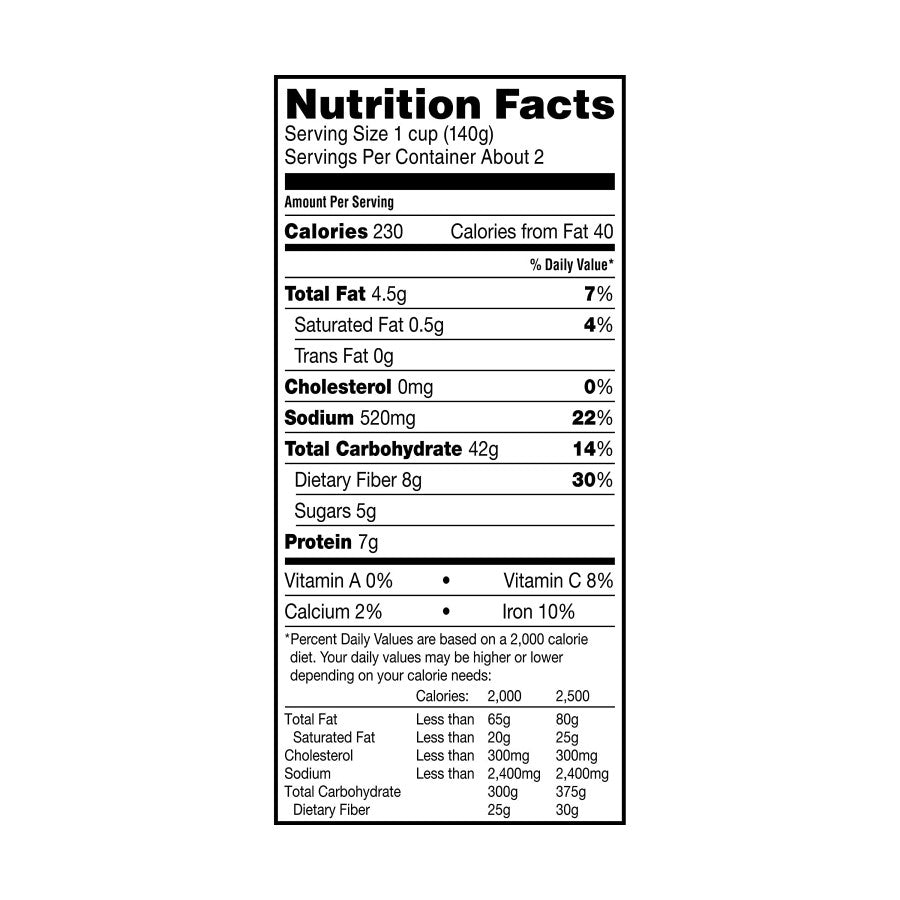 8.5 Ounce Quick Cook Pouch TruRoots Spanish Style Nutrition Facts