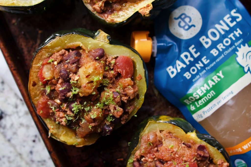 Turkey Chili Stuffed Squash Recipe Using Bare Bones Chicken Rosemary Lemon Bone Broth