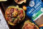 Load image into Gallery viewer, Turkey Chili Stuffed Squash Recipe Using Bare Bones Chicken Rosemary Lemon Bone Broth