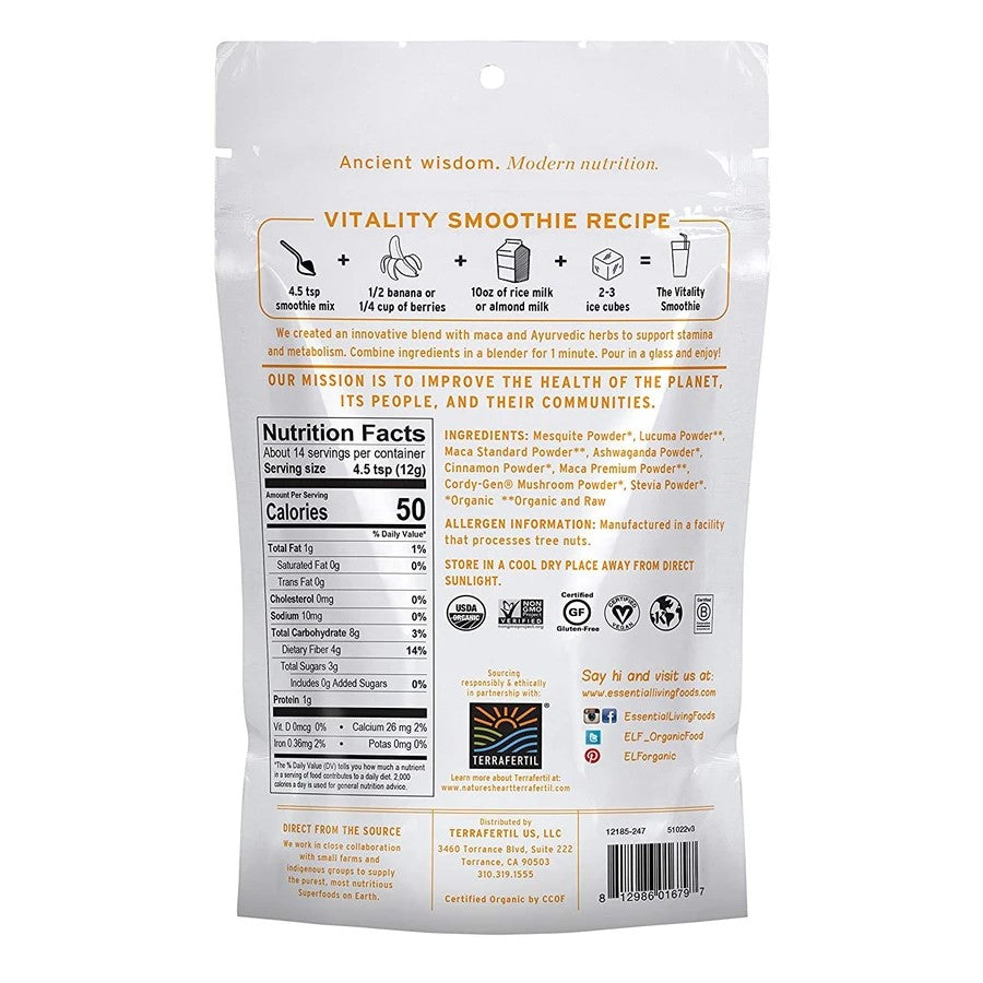 Vitality Smoothie Ingredients Recipe Nutrition Facts Back Of Bag