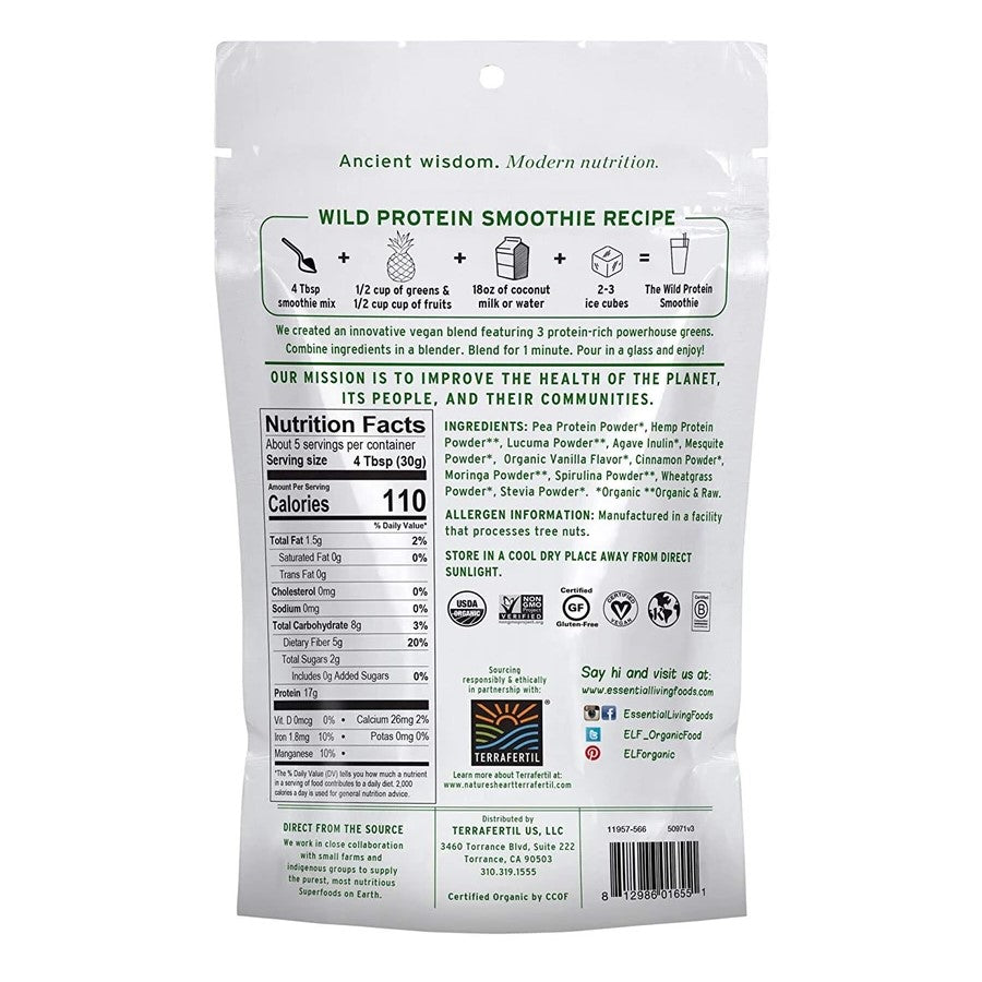 Wild Protein Smoothie Ingredients Recipe Nutrition Facts Back Of Bag