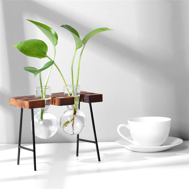 Double Hanging Rack Tabletop Vase Dark Wood