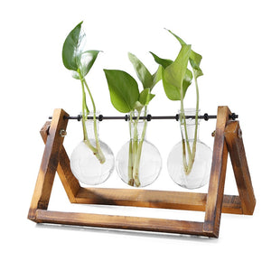 Glass & Wood Hanging Pendulum Tabletop Vases From Terra Powders