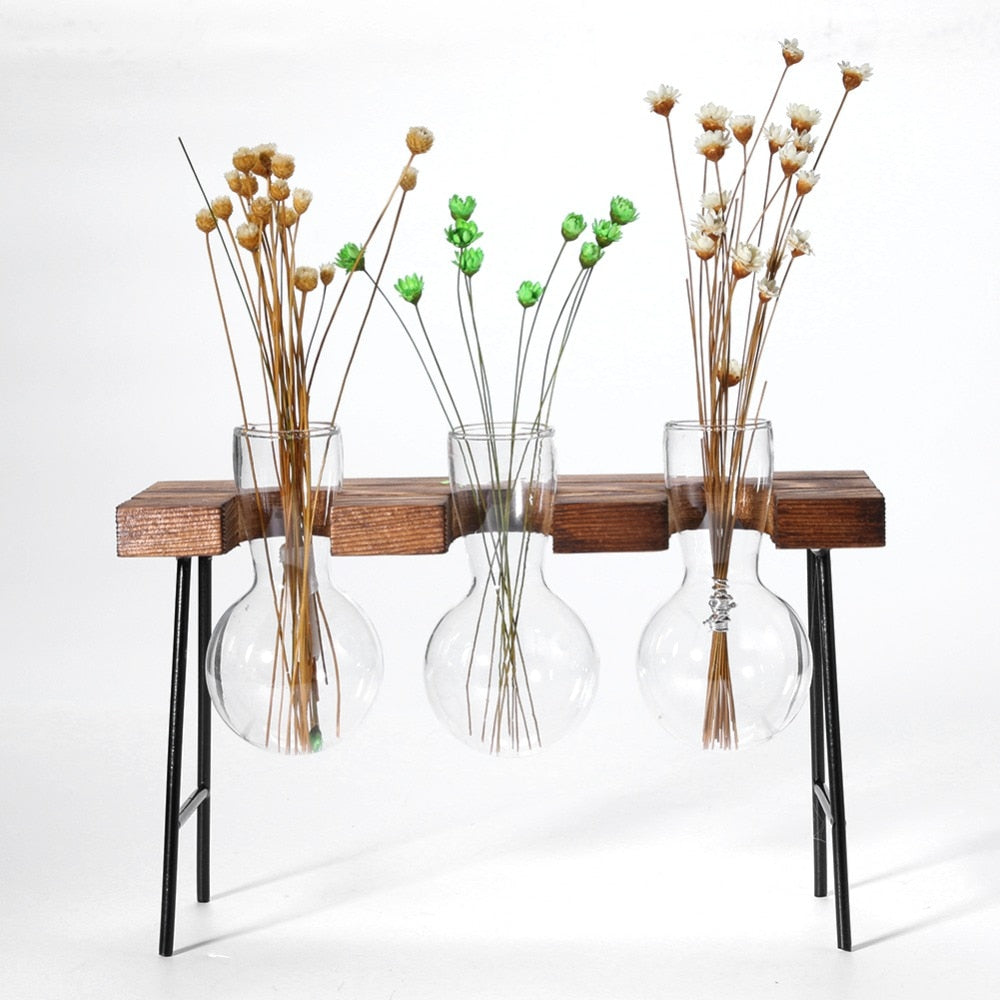 3 Hanging Glass Flower Vases In Desk Looking Wood Rack