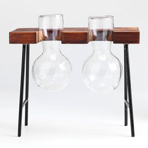 Two Glass Vases In Desk Style Wood Frame Rack
