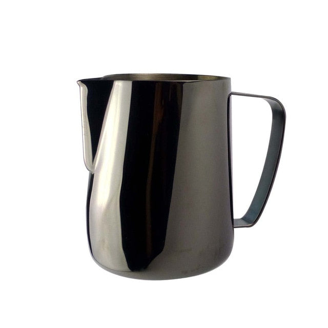 Stainless Steel Chic Frothing Pitcher In Sleek Black Color