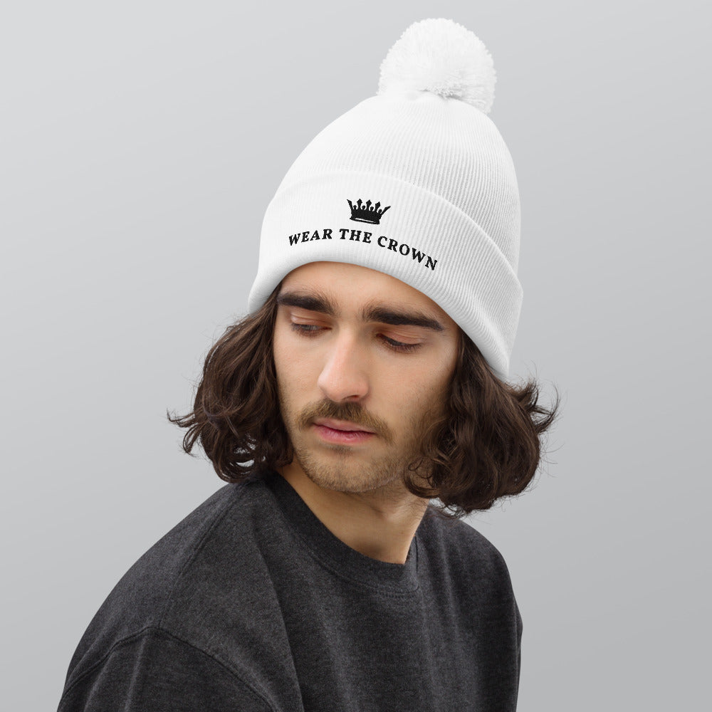 WEAR THE CROWN White Pom pom beanie