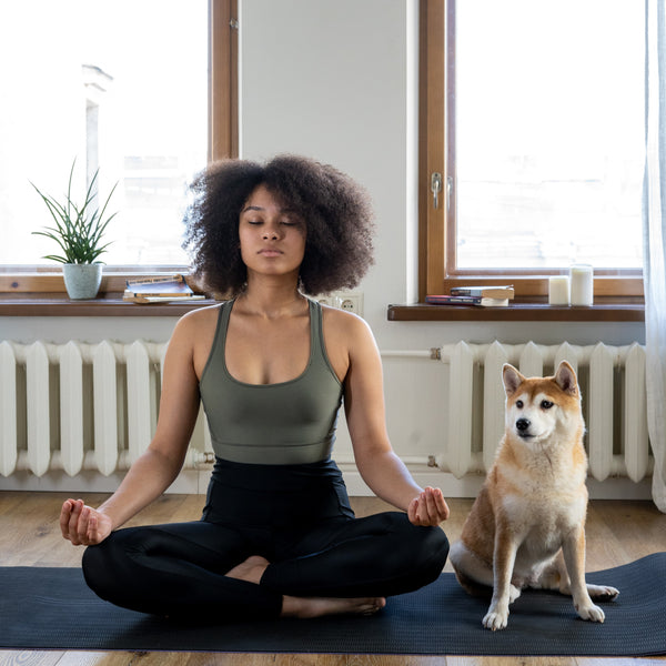 Girl meditates with her dog after drinking tearapy BeauTea