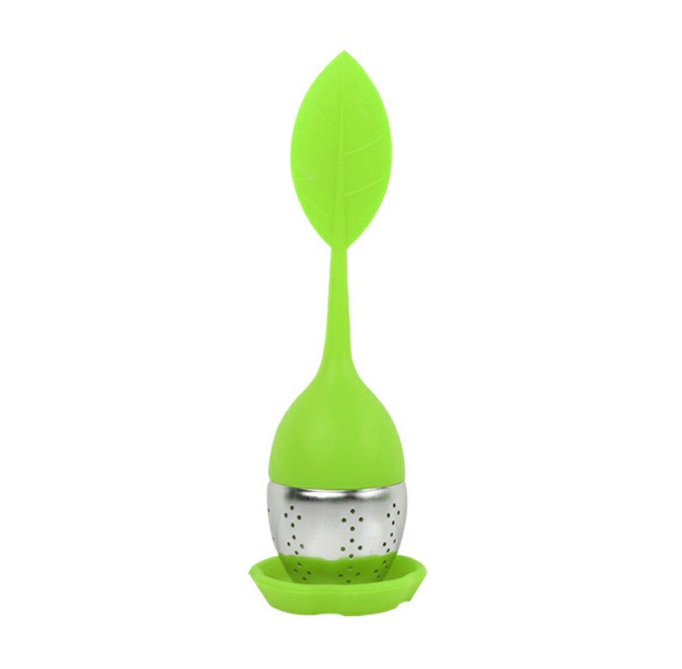 green tearapy leaf silicone tea infuser with stainless steel strainer