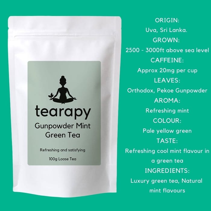 tearapy Gunpowder Mint Green Tea 100g loose leaf tea facts