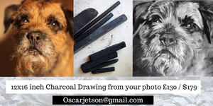 Deposit for a Custom Charcoal Drawing from your photo 11.69x16.53 inch, 260gsm paper, Willow Charcoal - Dog portraits by Oscar Jetson