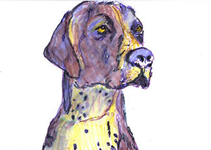 Pointer Pop Art Print, Dog Nursery Art, GSP Dog Art Print, Pointer Mom, Colorful Purple German Short-haired Pointer Art Print from a Watercolor Signed by Artist Oscar Jetson. - Dog portraits by Oscar Jetson