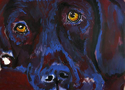 Abstract Labrador Wall Art Print, Labrador Retriever Memorial Artwork, Lab Owner Gift, Dog Portrait Painting Choice of Size Hand Signed by Pet Portrait Artist Oscar Jetson. - Dog portraits by Oscar Jetson