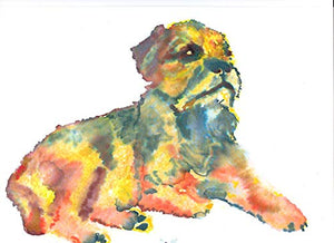 Border Terrier Wall Art Print, Colorful BT Watercolor Painting Print, Dog Nursery Decor, Dog Owner Gift, Choice Of Sizes Hand Signed By Pet Portrait Artist Oscar Jetson. - Dog portraits by Oscar Jetson