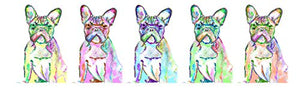 Large French Bulldog Canvas Art, French Bulldog Gift, Frenchie Mom, French Bulldog Panoramic Art Print, Dog Wall Art Print, Colorful Dog Wall Hanging Frenchie - Dog portraits by Oscar Jetson