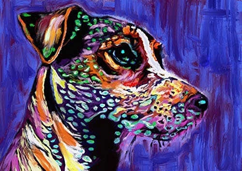 Jack Russell Art Print, JRT Nursery Art, Colorful long-haired JRT Pop Art Print, Gift for Jack Russell Owner, JRT Mom, Jack Russell Decor, Colorful Jack Russell Painting Signed Print by Oscar Jetson - Dog portraits by Oscar Jetson
