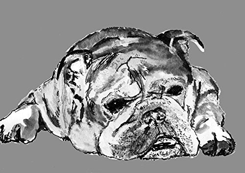 Grumpy English Bulldog Art, Bulldog owner Gift, British Bulldog Print Signed by Oscar Jetson Bulldog mom gift, Bulldogs artwork - Dog portraits by Oscar Jetson