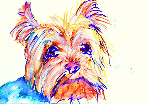 Yorkshire Terrier Art, Colorful Modern Yorkie Home Decor, Yorkshire Terrier Print, Yorkie Owner Gift, Yorkshire Terrier Painting, Yorkie Mom Abstract Dog Decor Hand Signed by Oscar Jetson - Dog portraits by Oscar Jetson