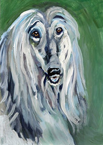 Afghan Hound Dog Art Print, Abstract Colorful Noahs Dog Decor, Gift for Afghan Hound Owner, Tazi Dog Mom, Expressionist Dog Art, Canine Decor, Colorful Dog Painting Portrait by Oscar Jetson - Dog portraits by Oscar Jetson