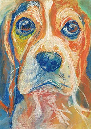 Beagle Dog Wall Art Print, Colorful Dog Memorial Artwork, Beagle Owner Gift, Pastel Painting Decor Hand Signed By Oscar Jetson Choice Of Sizes 8x10, 11x14, 12x16. - Dog portraits by Oscar Jetson