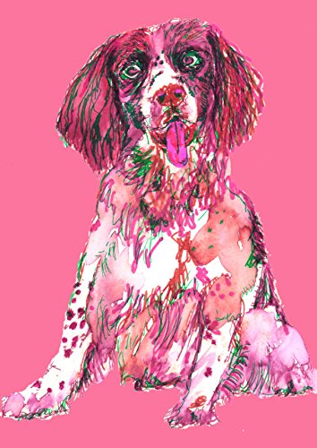 Springer Spaniel Wall Art Print, Pink Springer Spaniel Gift, Springer Spaniel Owner Gift, Dog Wall Art Print, Colorful Dog Watercolor Painting Decor Hand Signed by Oscar Jetson - Dog portraits by Oscar Jetson